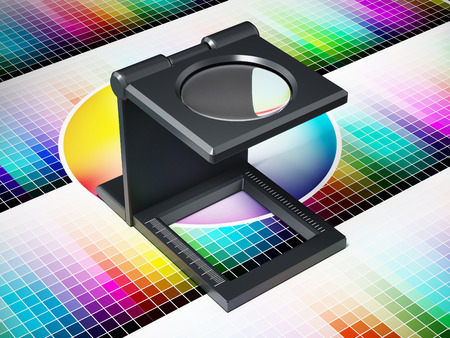 Printing loupe on color chart. 3D illustration. Stock Photo