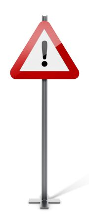 street symbols: Triangle traffic sign with exclamation mark isolated on white background. 3D illustration.