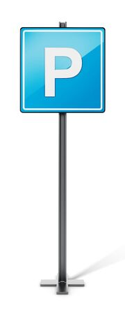 street symbols: Blue parking traffic sign isolated on white background. 3D illustration. Stock Photo