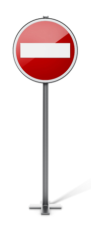 street symbols: Do not enter traffic sign isolated on white background. 3D illustration.