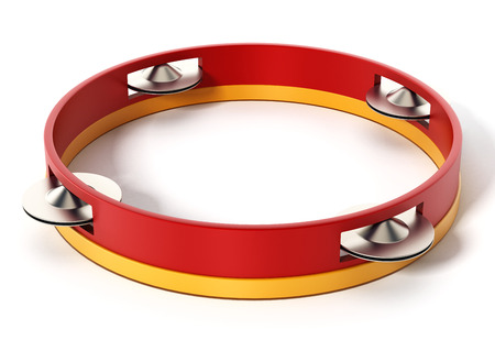 isolado no branco: Tambourine isolated on white background. 3D illustration.