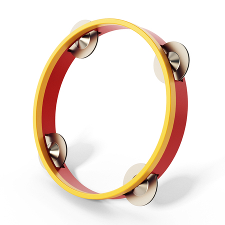 Tambourine isolated on white background. 3D illustration.
