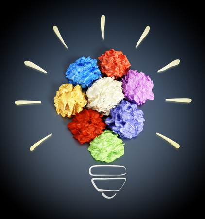 crumpled paper ball: Colorful crumpled papers forming lightbulb shape. 3D illustration.