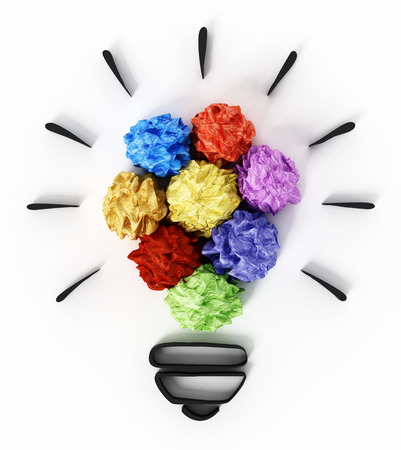 Colorful crumpled papers forming lightbulb shape. 3D illustration.