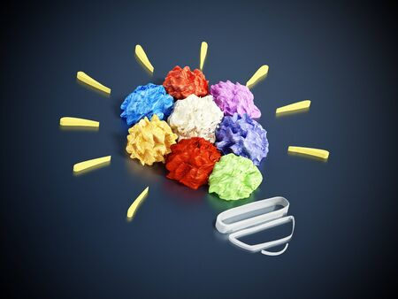 innovation concept: Colorful crumpled papers forming lightbulb shape. 3D illustration.