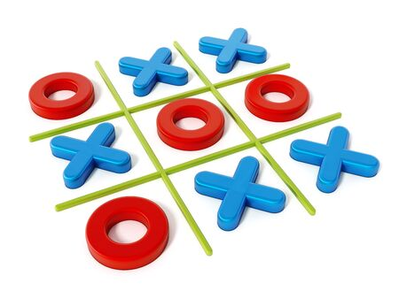 Tic tac toe game isolated on white background. 3D illustration. Stock Photo