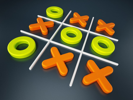 Tic tac toe game isolated on black background. 3D illustration.