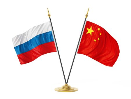 Russia and China desktop flags. 3D illustration. Stock Photo