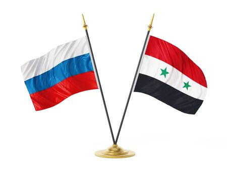Russia and Syria desktop flags. 3D illustration.