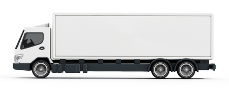 heavy vehicle: Truck with white blank trailer. 3D illustration. Stock Photo