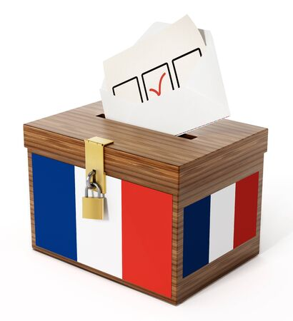 election: French flag textured ballot box and enveloppe. 3D illustration. Stock Photo