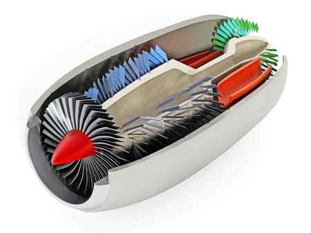 Jet engine cross section showing details 3D illustration. Stock Photo