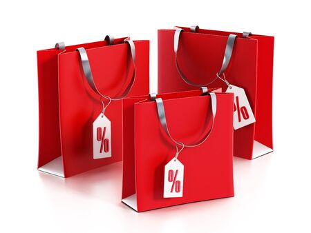 shopping sale: Red shopping bags with sale tags. 3D illustration. Stock Photo