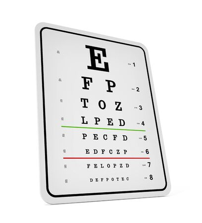 eye exams: Eye test chart isolated on white background. 3D illustration.