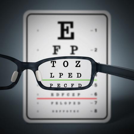 myopia: Eye test chart and eyeglasses. 3D illustration.