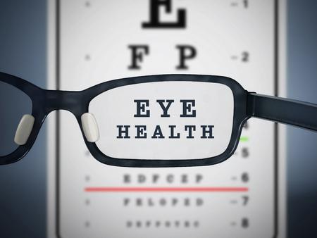 눈 테스트 차트 및 안경입니다. 3D 그림입니다.