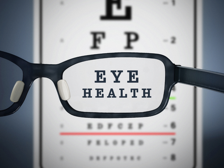 eye exams: Eye test chart and eyeglasses. 3D illustration.