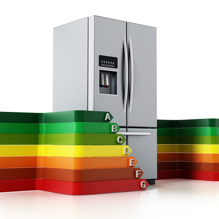 Generic silver refrigerator and energy efficiency levels chart. 3D illustration.