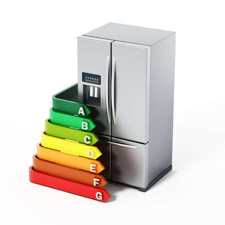 clean energy: Generic silver refrigerator and energy efficiency levels chart. 3D illustration.