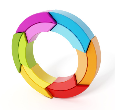 arrow circles: Rotating multi colored arrows forming a circle. 3D illustration. Stock Photo