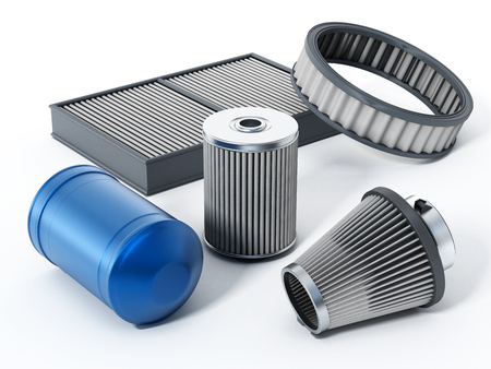 auto filter: Car spare oil and air filters. 3D illustration.