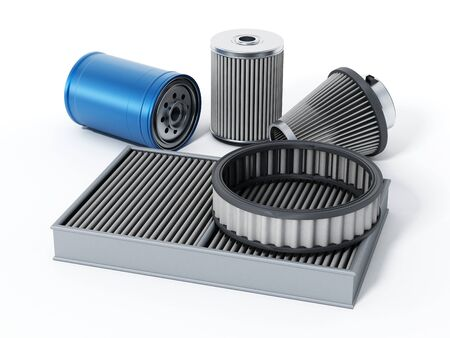 spare: Car spare oil and air filters. 3D illustration.