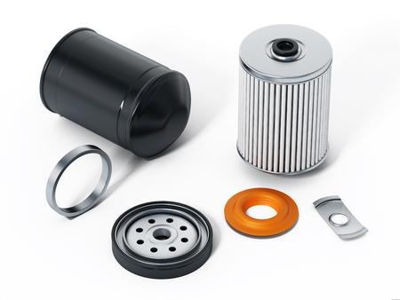 spare: Spare new oil filter exploded perspective. 3D illustration. Stock Photo