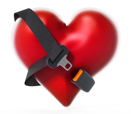 붉은 마음 주위에 안전 벨트. 3D 그림입니다. 스톡 콘텐츠