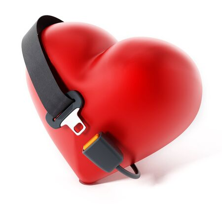 seatbelt: Seatbelt around the red heart. 3D illustration.