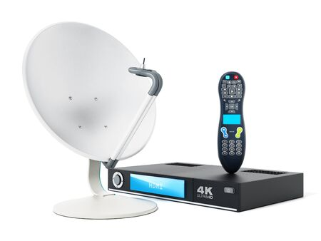 remote: Satellite dish, 4K ultra HD receiver, remote controller isolated on white background. 3D illustration. Stock Photo