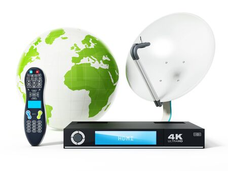 Satellite dish, 4K ultra HD receiver, remote controller with green globe. 3D illustration.