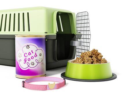 plastico pet: Gato collar, portador y alimentos aislados sobre fondo blanco. Ilustración 3D.