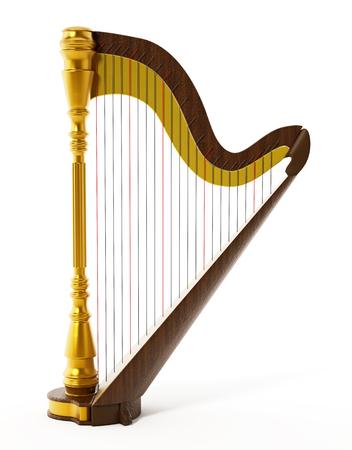 symphonic: Harp isolated on white background. 3D illustration.