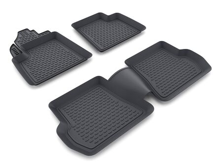 isolated: Black rubber car mats isolated on white background. 3D illustration.