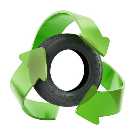 Recycle symbol around used tyre. 3D illustration. Stock Photo
