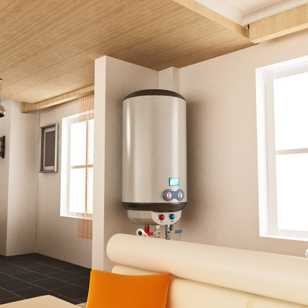 Water heater hanging on the wall. 3D illustration. 스톡 콘텐츠