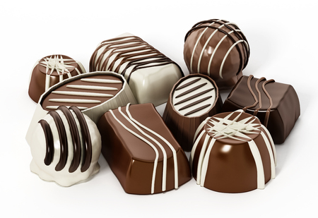 Assorted chocolates isolated on white background. 3D illustration.