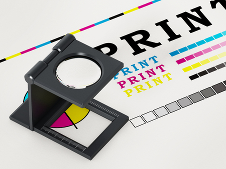 Printing loupe standing on colour test paper. 3D illustration. Stock Photo