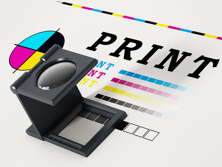 Printing loupe standing on colour test paper. 3D illustration. Archivio Fotografico