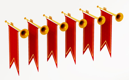 Swallow flags and trumpets isolated on white background. 3D illustration.