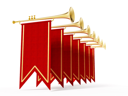 i nobody: Swallow flags and trumpets isolated on white background. 3D illustration.