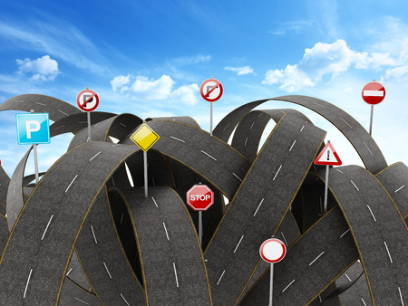 complicated journey: Tangled, crowded, chaotic roads and many traffic signs. 3D illustration Stock Photo