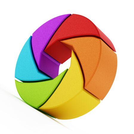 Shutter symbol isolated on white background. 3D illustration.