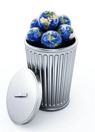 Globes standing inside metal trash bin. 3D illustration.