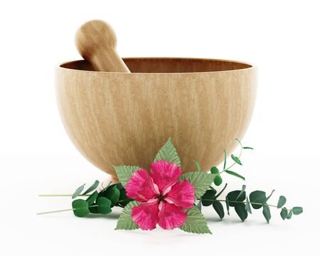 Mortar, pestle and flower isolated on white background. 3D illustration.