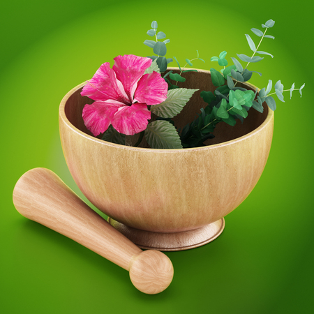 Mortar, pestle and flower isolated on green background. 3D illustration.