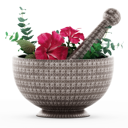 grind: Mortar, pestle and flower isolated on white background. 3D illustration.