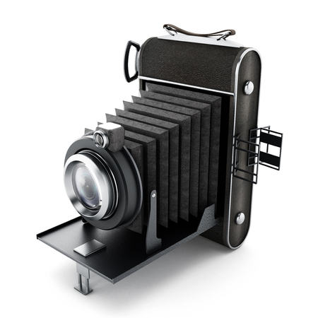 old photograph: Vintage analogue camera isolated on white background.