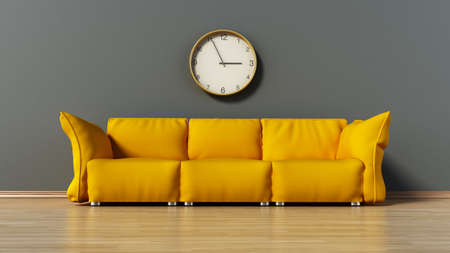 luxury living room: Green couch standing on parquet ground. 3D illustration. Stock Photo