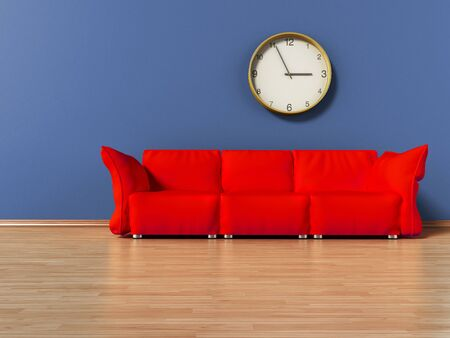 Red couch standing on parquet ground. 3D illustration.